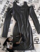 Obcisła sukienka przed kolano błyszcząca odkryte ramiona długi ...
