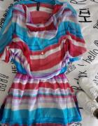 Sukienka kolorowa falbanki na lato...