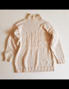 LA DONNA Sweter damski kolor ecru w warkocze półgolf Lka...