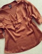 H&M bluzka satynowa żabot brązowa M L...