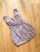 H&M sukienka imprezowa falbany nude gorset wesele S...