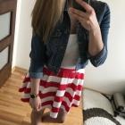 Mohito spódnica rozkloszowana marynarska pasy S