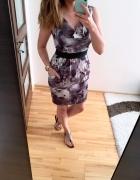 H&M sukienka elegancka tulipan print L...