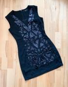 Reserved klasyczna sukienka mini czarna aplikacja S