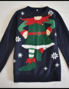 Sweter świąteczny z elfem i dzwoneczkami 40 L...