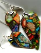 Jaspis tęczowy kolorowywisior kolczyki zestaw biżuterii...