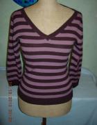 Sweterek w paski pasiasty sweter w serek M...