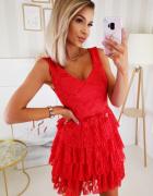 śliczna koronkowa sukienka falbanki plisy S M L XL...