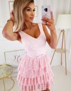 śliczna koronkowa sukienka falbanki plisy S M L XL różowa...