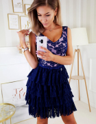 śliczna koronkowa sukienka falbanki plisy S M L XL granat róż...
