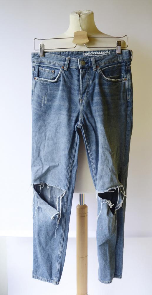 Spodnie Spodnie Boyfriend 25 32 Jeans Dziury XS 34 Dżinsy