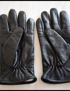 Czarne chyba skórzane rękawiczki na jesień i zimę