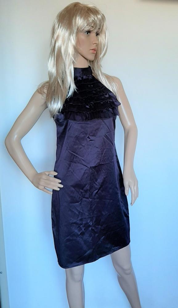 g46 sukienka falbany gołe ramiona półgolf rozm 8 XS...