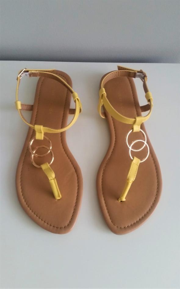 Żółte sandałki japonki New Look rozm 37