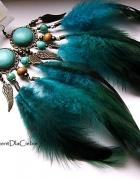 turkusy boho hippie etno pióra czarne kolczyki