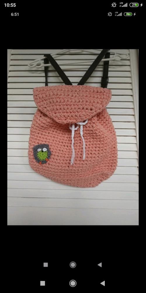 Plecak na szydełku rękodzieło handmade morelowy