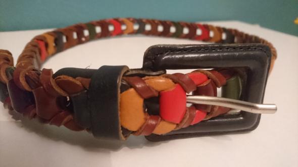 Włoski pleciony pasek z kolorowej skóry vintage