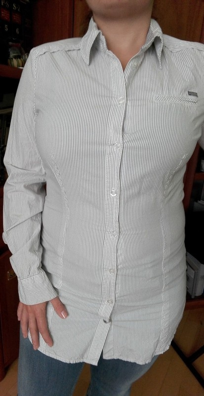 Koszula Damska Długi Rękaw Biała Paski M NOWA Fresh Made