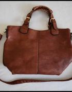 Brązowa torba damska pojemna A4 z długim paskiem...