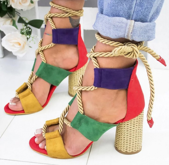 Kolorowe zamszowe sandałki gladiatorki musthave 38