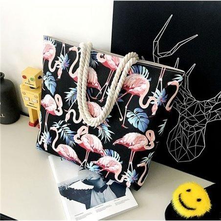 Obszerna torebka we flamingi