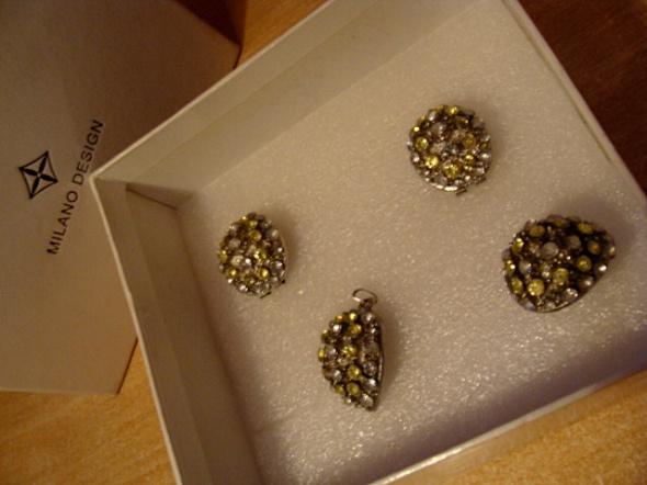 Komplety Zestaw bizuterii w pudelku zielony krysztalki swarovski krysztaly prezent
