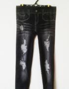 Krótkie legginsy z nadrukiem jeansów punk emo rockowe...