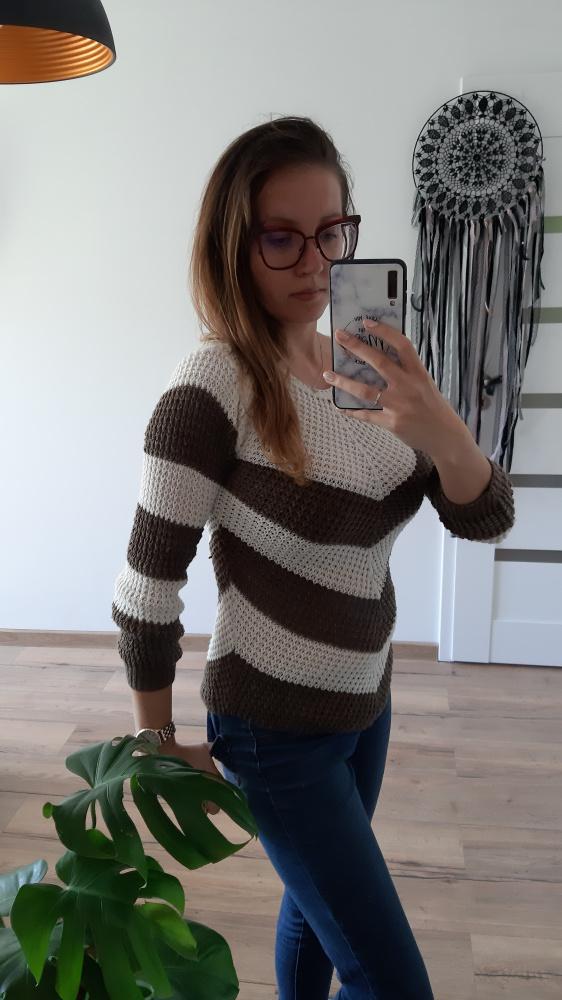 Sweter brązowo biały S M