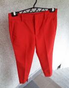 Czerwone spodnie eleganckie asymetryczne mankiety cygaretki Zara 34