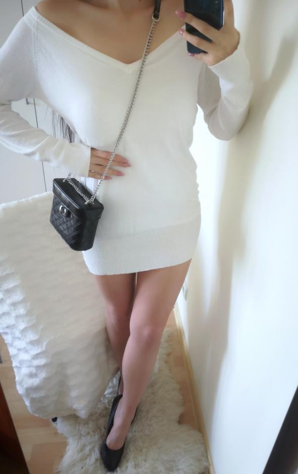 Cherokee Sweterek damski długi biały uniwersalny