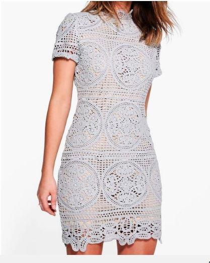 NOWA nieużywana z metką koronkowa szara sukienka S boohoo golf gipiura