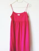 Różowa letnia sukienka H&M fuksja vintage midi...