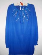 Elegancka chamstwa sukienka z cekinami tunika mgiełka...