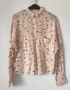 Koszula bluzka Zara w jaskółki S 36 łosowiowa z długim rękawem...