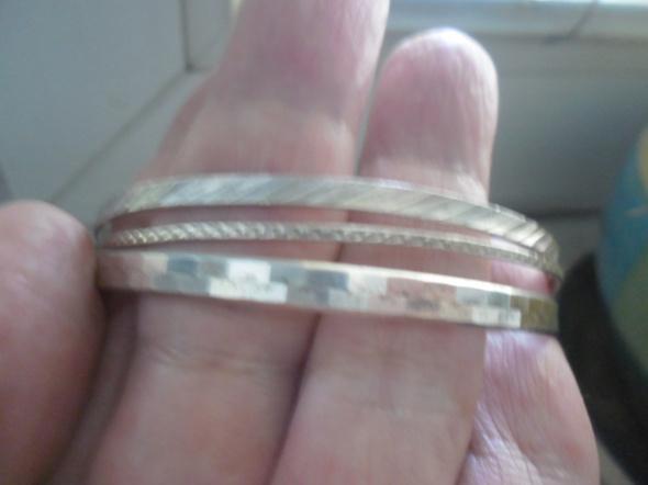 Zestaw 3 srebrny bransoletek kółka...