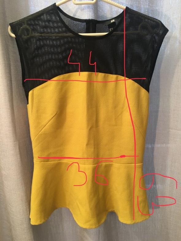 musztardowa bluzka z baskinką H&M...