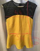 musztardowa bluzka z baskinką H&M