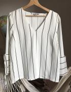 Koszula elegancka paski w serek H&M 38 M sztywny materiał