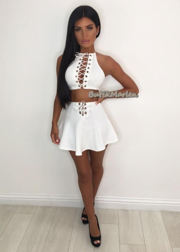 Komplet biały sznurowany top plus spódnica