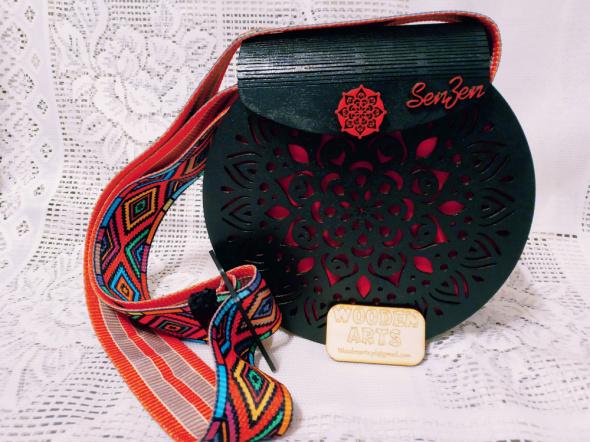 Drewniana mandala torebka etno boho handmade