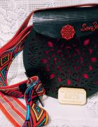 Drewniana mandala torebka etno boho handmade...