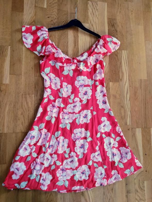 Sukienka letnia kwiaty taliowana lato zwiewna r 38...