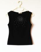 Czarna bluzka bez rękawów aplikacja gothic elegancka...