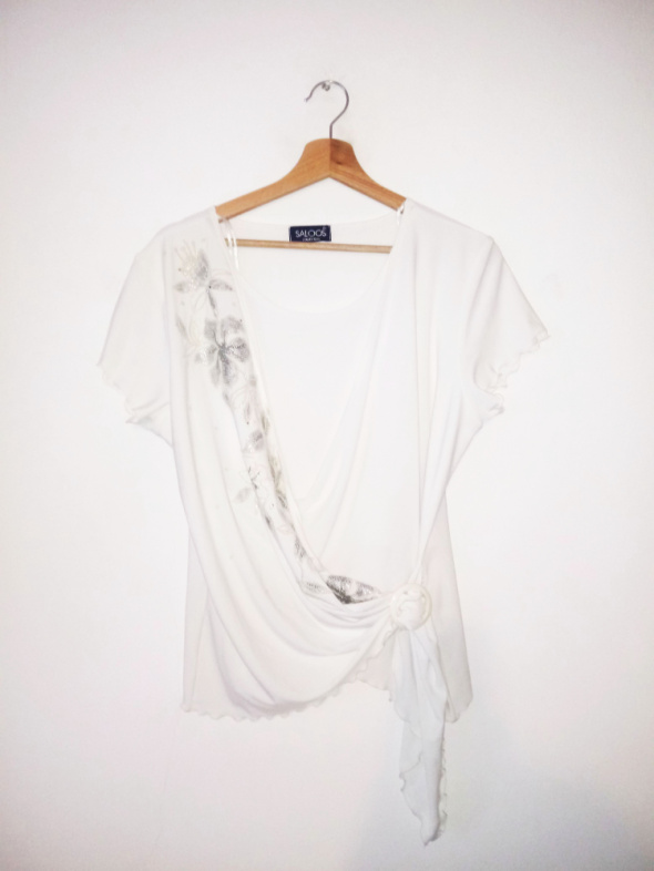 Biało kremowa kopertowa bluzka vintage retro