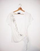 Biało kremowa kopertowa bluzka vintage retro...