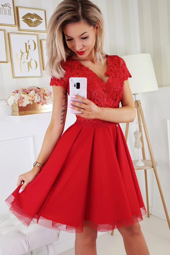 sukienka koronkowa CZERWONA 34 36 38 40 42 44 46 kolory