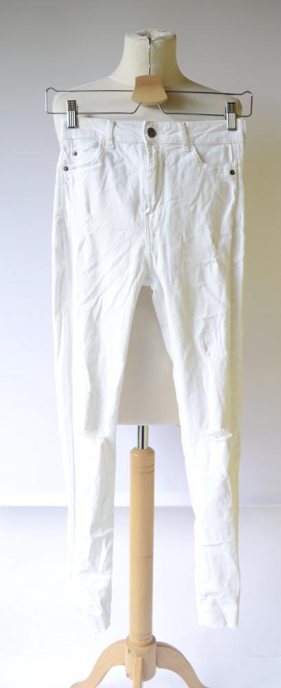 Spodnie Białe Rurki Bershka 36 S Dziury Postrzępione Nogawki