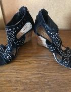 Sandały czarne ćwieki 38 na 39