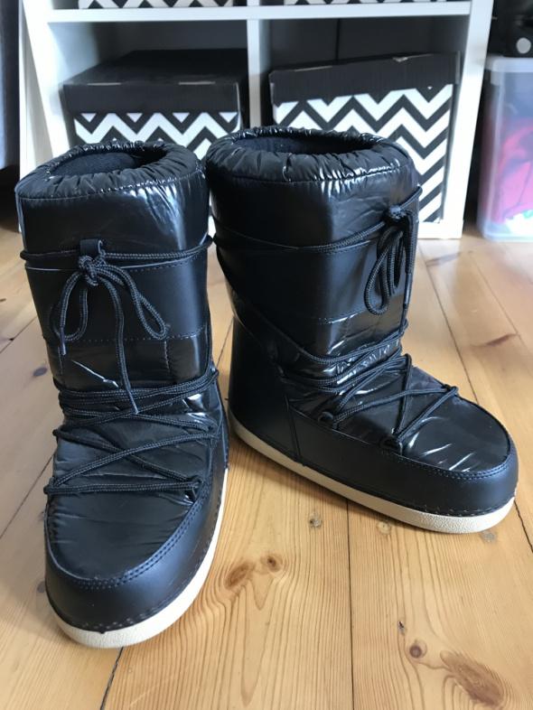 Buty śniegowce 38 inspirowane moon boot sinsay zimowe czarne krem