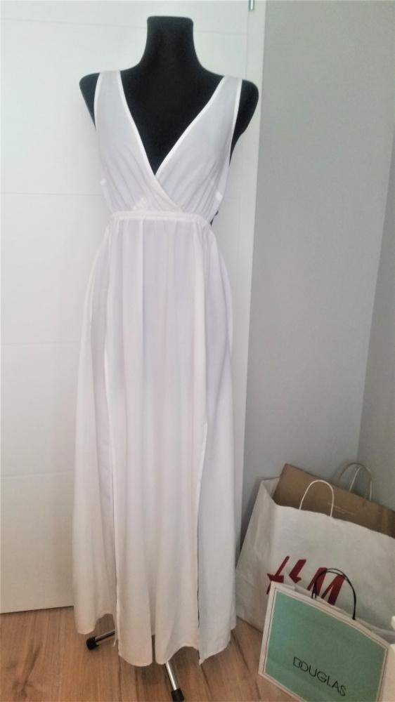 Biala maxi dress sukienka z rozcięciami